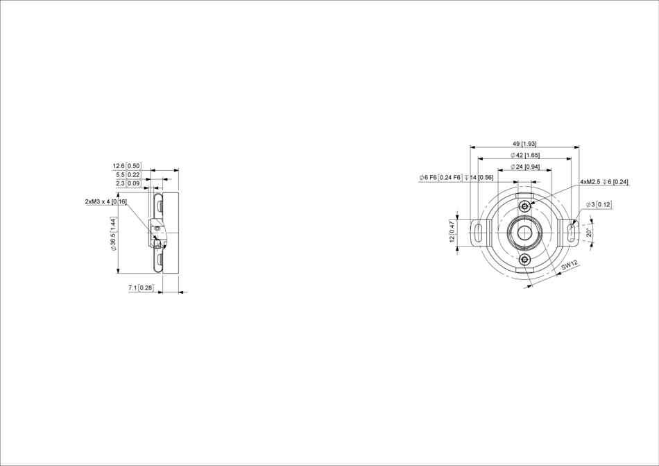 POSITAL IXARC MCD-AV004-0012-R100-2AW Analog Voltage Absolute Rotary Encoder